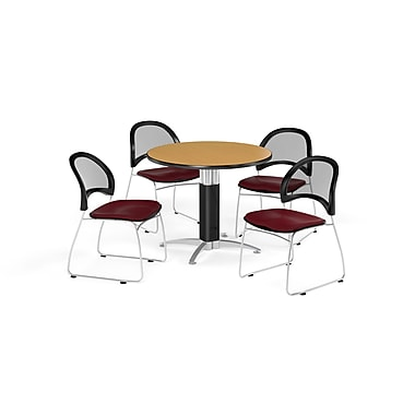 OFM 42 Inch Round Mesh Base Oak Table and Four Burgundy Chairs (PKG-BRK-175-0059)