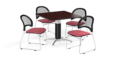 OFM 36 Inch Square Mesh Base Mahogany Table and Four Coral Pink Chairs (PKG-BRK-174-0040)