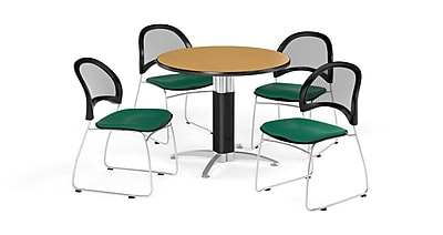 OFM 42 Inch Round Mesh Base Oak Table and Four Shamrock Green Chairs (PKG-BRK-175-0049)