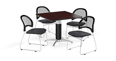OFM 36 Inch Square Mesh Base Mahogany Table and Four Slate Gray Chairs (PKG-BRK-174-0044)