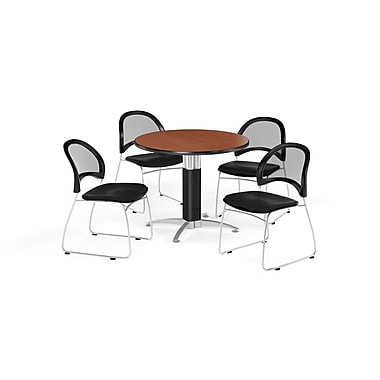 OFM 42 Inch Round Mesh Base Cherry Table and Four Black Chairs (PKG-BRK-175-0016)