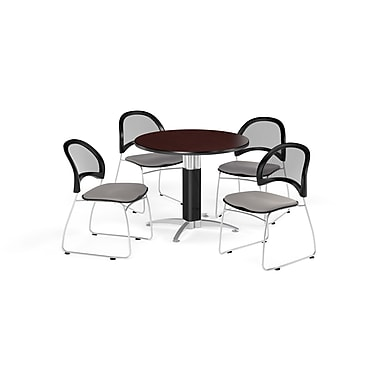 OFM 42 Inch Round Mesh Base Mahogany Table and Four Putty Chairs (PKG-BRK-175-0046)