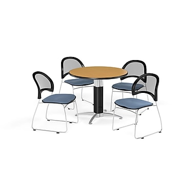 OFM 42 Inch Round Mesh Base Oak Table and Four Cornflower Blue Chairs (PKG-BRK-175-0054)