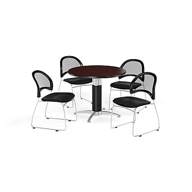 OFM 42 Inch Round Mesh Base Mahogany Table and Four Black Chairs (PKG-BRK-175-0048)