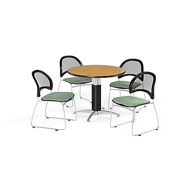 OFM 42 Inch Round Mesh Base Oak Table and Four Sage Green Chairs (PKG-BRK-175-0055)