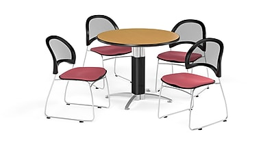 OFM 42 Inch Round Mesh Base Oak Table and Four Coral Pink Chairs (PKG-BRK-175-0056)