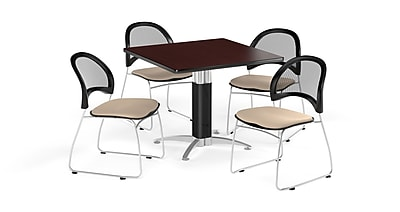 OFM 36 Inch Square Mesh Base Mahogany Table and Four Khaki Chairs (PKG-BRK-174-0041)