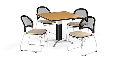 OFM 36 Inch Square Mesh Base Oak Table and Four Khaki Chairs (PKG-BRK-174-0057)