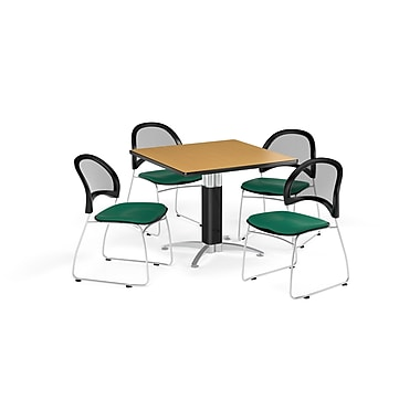 OFM 36 Inch Square Mesh Base Oak Table and Four Shamrock Green Chairs (PKG-BRK-174-0049)