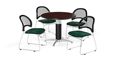 OFM 42 Inch Round Mesh Base Mahogany Table and Four Forest Green Chairs (PKG-BRK-175-0047)