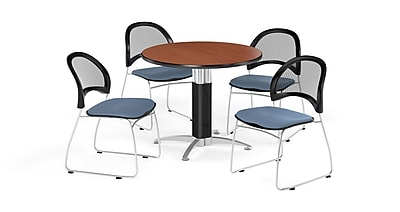 OFM 42 Inch Round Mesh Base Cherry Table and Four Cornflower Blue Chairs (PKG-BRK-175-0006)