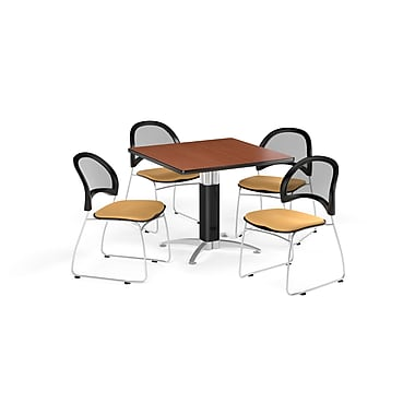 OFM 36 Inch Square Mesh Base Cherry Table and Four Golden Flax Chairs (PKG-BRK-174-0005)