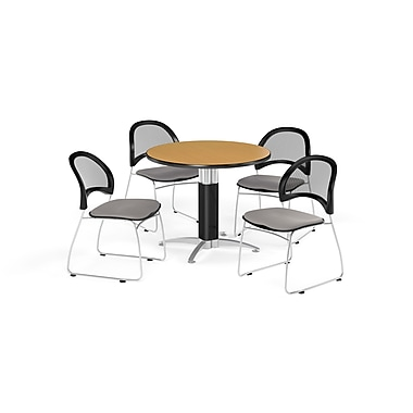 OFM 42 Inch Round Mesh Base Oak Table and Four Putty Chairs (PKG-BRK-175-0062)