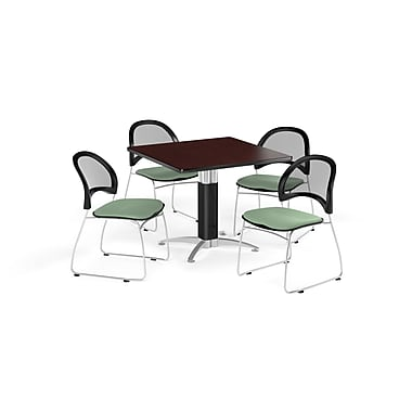 OFM 36 Inch Square Mesh Base Mahogany Table and Four Sage Green Chairs (PKG-BRK-174-0039)