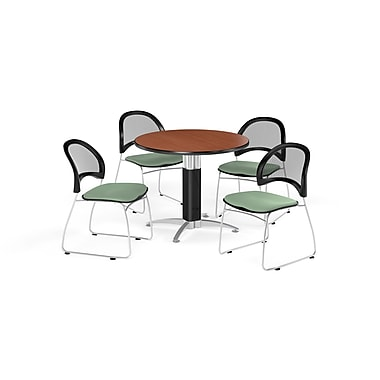 OFM 42 Inch Round Mesh Base Cherry Table and Four Sage Green Chairs (PKG-BRK-175-0007)