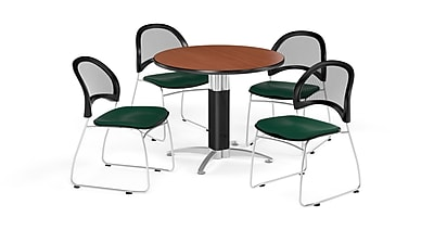 OFM 42 Inch Round Mesh Base Cherry Table and Four Forest Green Chairs (PKG-BRK-175-0015)