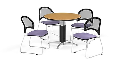 OFM 42 Inch Round Mesh Base Oak Table and Four Lavender Chairs (PKG-BRK-175-0050)