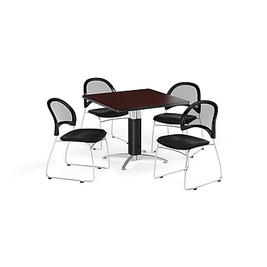 OFM 36 Inch Square Mesh Base Mahogany Table and Four Black Chairs (PKG-BRK-174-0048)