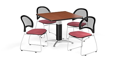 OFM 36 Inch Square Mesh Base Cherry Table and Four Coral Pink Chairs (PKG-BRK-174-0008)