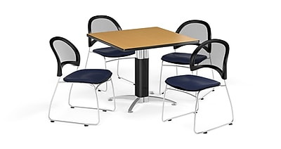 OFM 36 Inch Square Mesh Base Oak Table and Four Navy Chairs (PKG-BRK-174-0051)