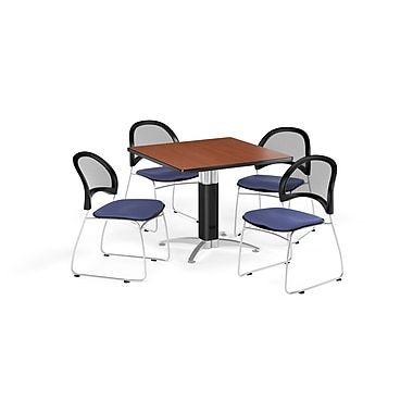 OFM 36 Inch Square Mesh Base Cherry Table and Four Colonial Blue Chairs (PKG-BRK-174-0004)