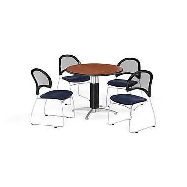 OFM 42 Inch Round Mesh Base Cherry Table and Four Navy Chairs (PKG-BRK-175-0003)