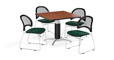 OFM 36 Inch Square Mesh Base Cherry Table and Four Forest Green Chairs (PKG-BRK-174-0015)