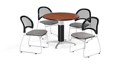 OFM 42 Inch Round Mesh Base Cherry Table and Four Putty Chairs (PKG-BRK-175-0014)