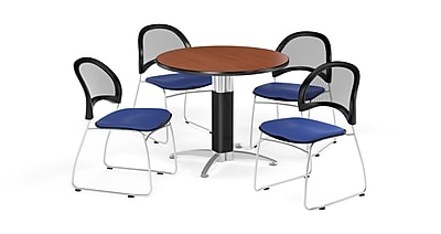 OFM 42 Inch Round Mesh Base Cherry Table and Four Royal Blue Chairs (PKG-BRK-175-0010)