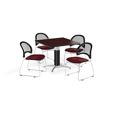 OFM 36 Inch Square Mesh Base Mahogany Table and Four Burgundy Chairs (PKG-BRK-174-0043)