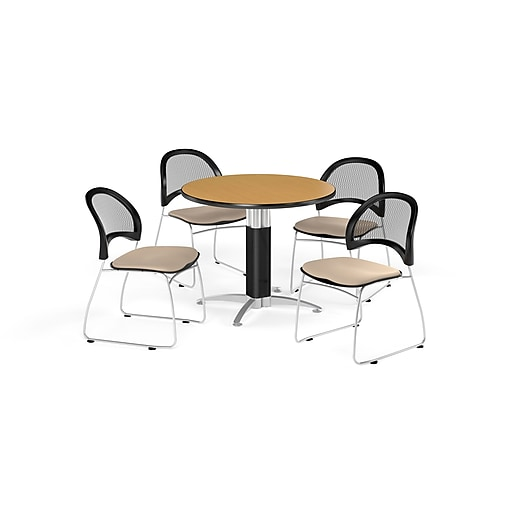 OFM 42 Inch Round Mesh Base Oak Table and Four Khaki Chairs (PKG-BRK-175-0057)