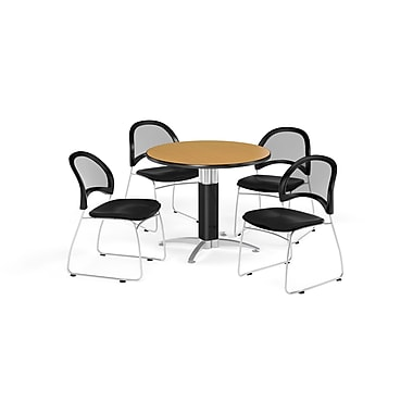 OFM 42 Inch Round Mesh Base Oak Table and Four Black Chairs (PKG-BRK-175-0064)
