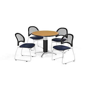 OFM 42 Inch Round Mesh Base Oak Table and Four Navy Chairs (PKG-BRK-175-0051)