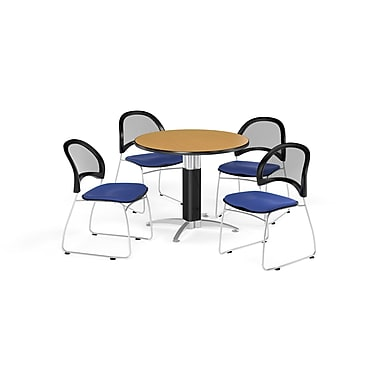 OFM 42 Inch Round Mesh Base Oak Table and Four Royal Blue Chairs (PKG-BRK-175-0058)