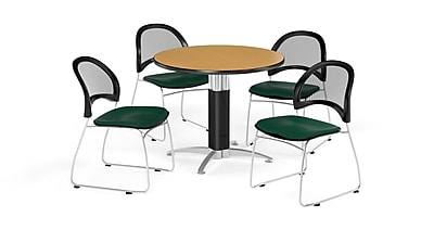 OFM 42 Inch Round Mesh Base Oak Table and Four Forest Green Chairs (PKG-BRK-175-0063)