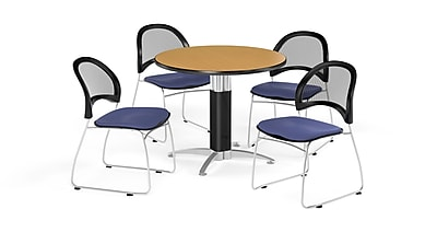 OFM 42 Inch Round Mesh Base Oak Table and Four Colonial Blue Chairs (PKG-BRK-175-0052)