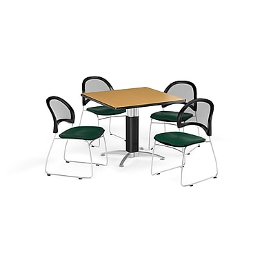 OFM 36 Inch Square Mesh Base Oak Table and Four Forest Green Chairs (PKG-BRK-174-0063)