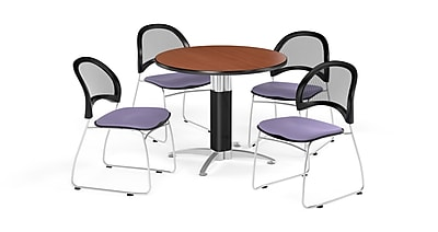 OFM 42 Inch Round Mesh Base Cherry Table and Four Lavender Chairs (PKG-BRK-175-0002)