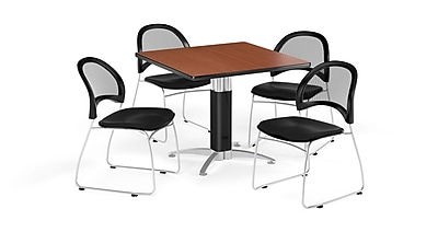 OFM 36 Inch Square Mesh Base Cherry Table and Four Black Chairs (PKG-BRK-174-0016)