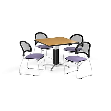 OFM 36 Inch Square Mesh Base Oak Table and Four Lavender Chairs (PKG-BRK-174-0050)