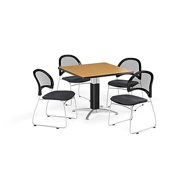 OFM 36 Inch Square Mesh Base Oak Table and Four Slate Gray Chairs (PKG-BRK-174-0060)