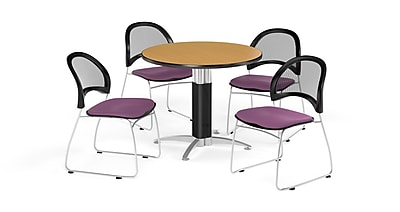 OFM 42 Inch Round Mesh Base Oak Table and Four Plum Chairs (PKG-BRK-175-0061)