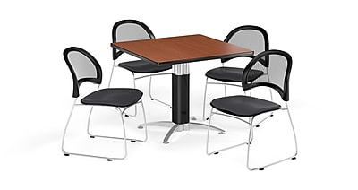 OFM 36 Inch Square Mesh Base Cherry Table and Four Slate Gray Chairs (PKG-BRK-174-0012)