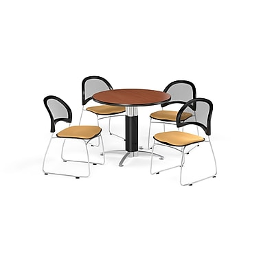 OFM 42 Inch Round Mesh Base Cherry Table and Four Golden Flax Chairs (PKG-BRK-175-0005)