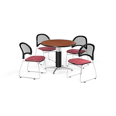 OFM 42 Inch Round Mesh Base Cherry Table and Four Coral Pink Chairs (PKG-BRK-175-0008)