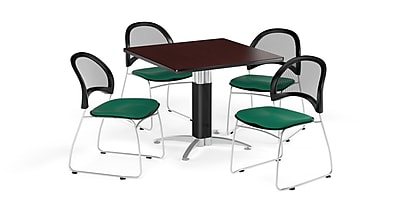 OFM 36 Inch Square Mesh Base Mahogany Table and Four Shamrock Green Chairs (PKG-BRK-174-0033)