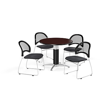 OFM 42 Inch Round Mesh Base Mahogany Table and Four Slate Gray Chairs (PKG-BRK-175-0044)