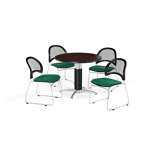 OFM 42 Inch Round Mesh Base Mahogany Table and Four Shamrock Green Chairs (PKG-BRK-175-0033)