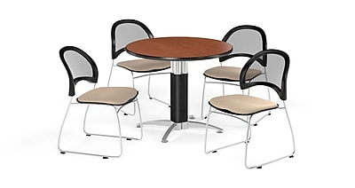 OFM 42 Inch Round Mesh Base Cherry Table and Four Khaki Chairs (PKG-BRK-175-0009)