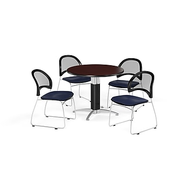 OFM 42 Inch Round Mesh Base Mahogany Table and Four Navy Chairs (PKG-BRK-175-0035)